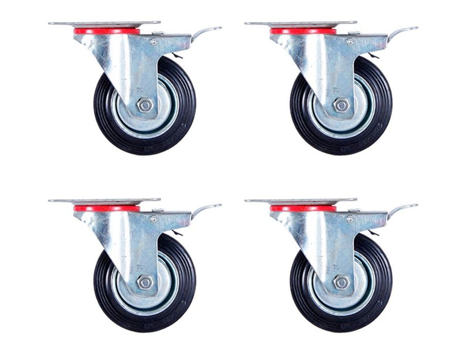 4x Lenkrollen mit Bremse 100 mm lenkbar