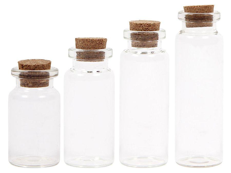 Glasflaschen Mini Flaschen mit Korken 20er Set