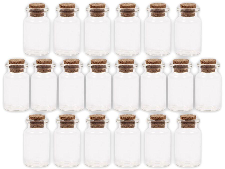 Alsino 60 Stück Glasfläschchen mit Korken GF-01 Set Leere Mini Glas Flaschen Schnapsflaschen Sandfläschchen