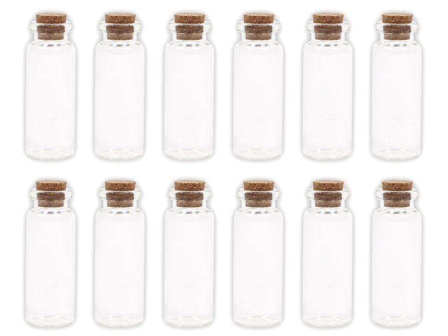 Alsino 100 Stück Glasfläschchen mit Korken GF-03 Set Leere Mini Glas Flaschen Schnapsflaschen Sandfläschchen