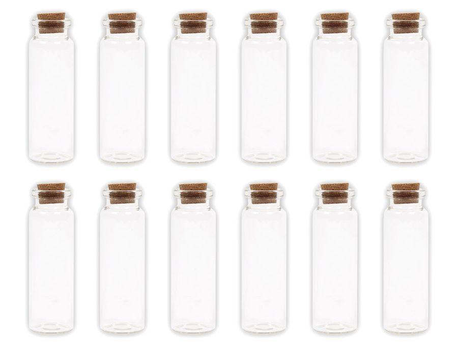 Alsino 100 Stück Glasfläschchen mit Korken GF-04 Set Leere Mini Glas Flaschen Schnapsflaschen Sandfläschchen