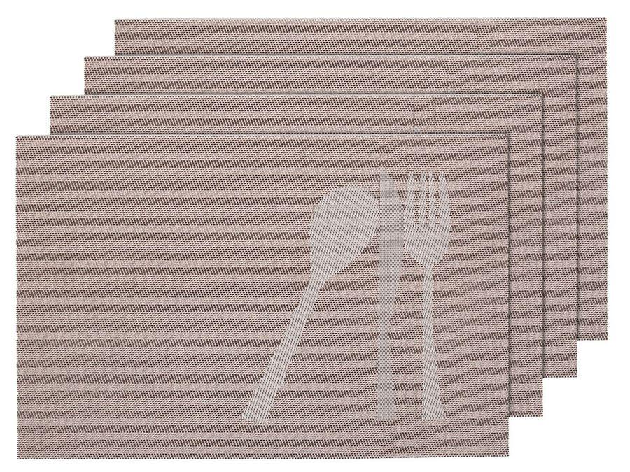 Alsino 4er Set edle PlatzmattenTS-23 beige Tisch Sets Platzset Tischmatten Untersetzer Platzdeckchen