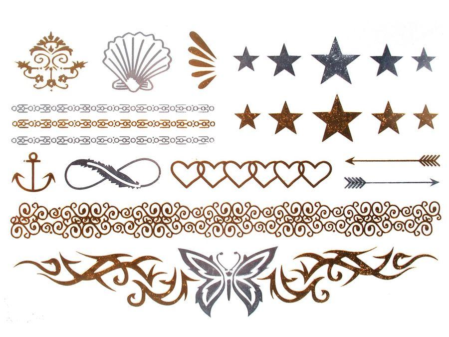 Alsino Einmal Tattoo Metallic Modeschmuck selbstklebend Einmaltattoos schwarz silber gold – Bild 2
