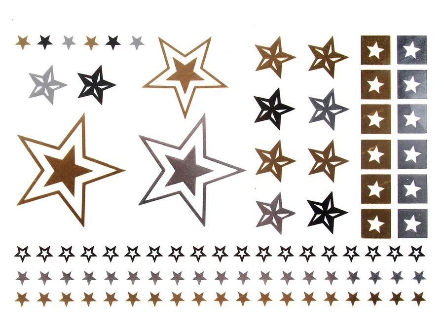 Alsino Einmal Tattoo Metallic Modeschmuck selbstklebend Einmaltattoos schwarz silber gold – Bild 4