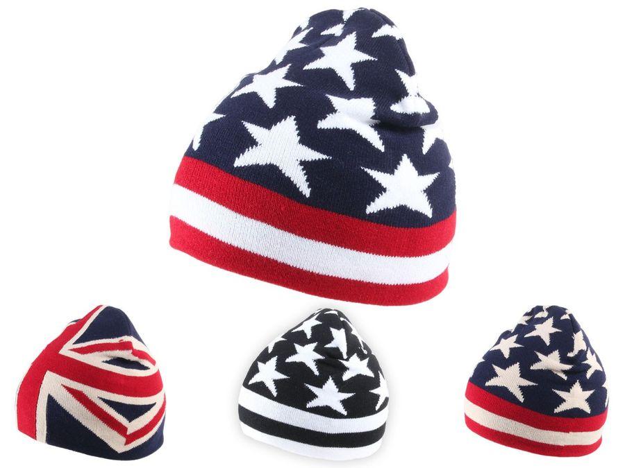 Alsino Strickmütze UK Stars n Stripes USA Ballonmütze Beanie Wintermütze