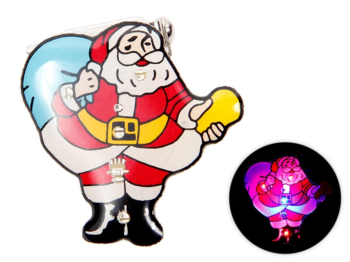 Blinki Anstecker Blinky Brosche Pin Button Weihnachtsmann mit Sack 147