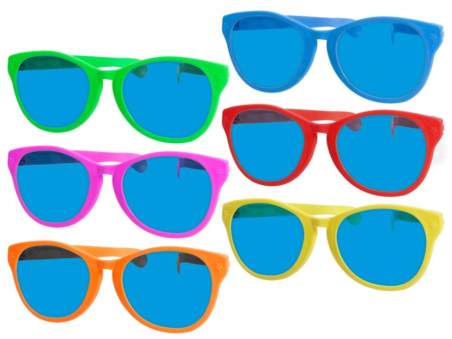 Partybrille mit großen Gläsern bunt F-049