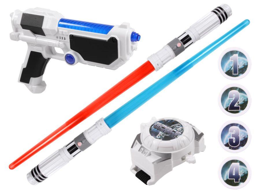 Alsino Sternenkämpfer Set Lichtschwert Laserpistole Armband Abschussuhr Licht Sound Space Wars