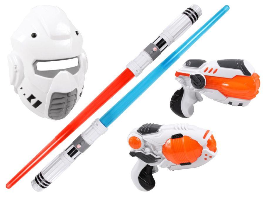 Alsino Laserschwert mit Lichteffekt Laserpistole YG009060 Set Maske Sternenkämpfer Sound Licht Space Wars