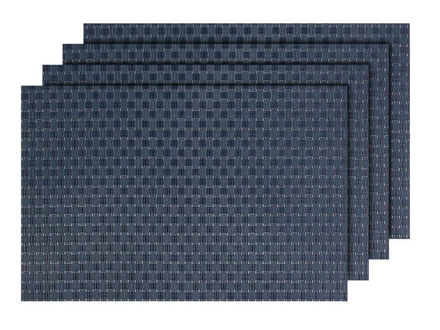 Alsino 4er Set edle Platzmatten TS-88 grau blau Tisch Sets Platzset Tischmatten Untersetzer Platzdeckchen