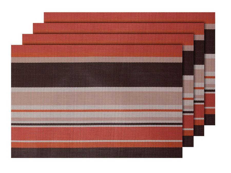 Alsino 4er Set edle Platzmatten TS-97 braun orange Tisch Sets Platzset Tischmatten Untersetzer Platzdeckchen