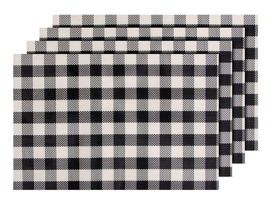 Alsino 4er Set edle Platzmatten TS-123 schwarz weiß Tisch Sets Platzset Tischmatten Untersetzer Platzdeckchen