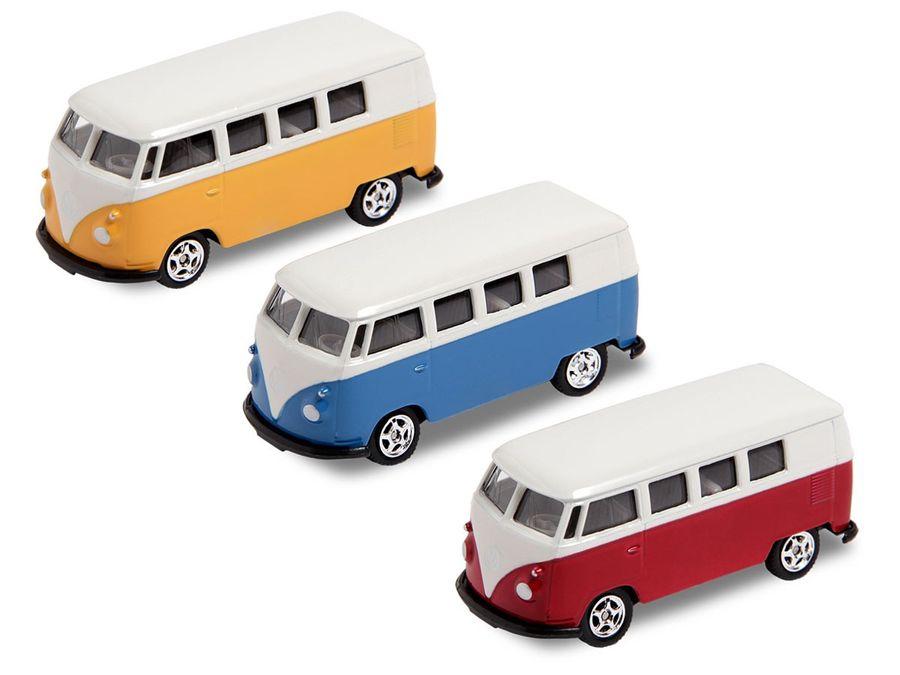 Alsino VW Bus Bulli Modellauto 7,5 cm Modell Volkswagen 1:60 Bully Minibus Oldtimer Welly