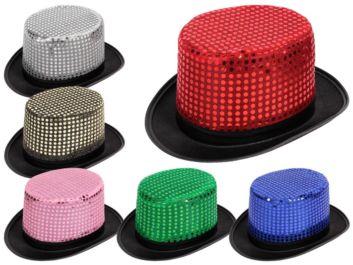 Pailletten Hut als Zylinder Glitzerhut