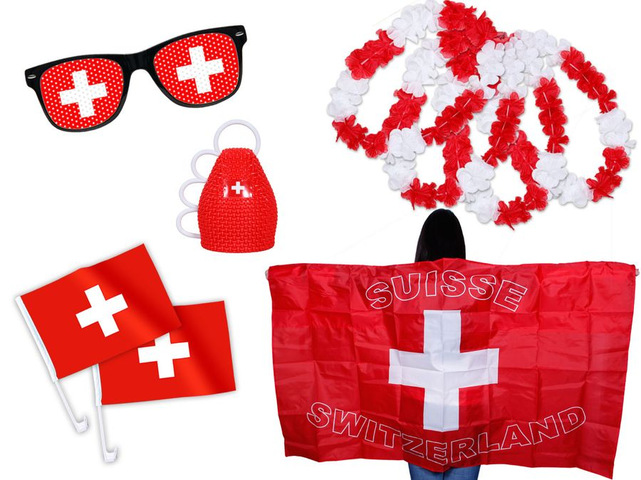 9 tlg. Alsino WM Fanpaket Schweiz FP-07a Fanartikel Fussball Fanset Flaggenumhang Caxirola Brille