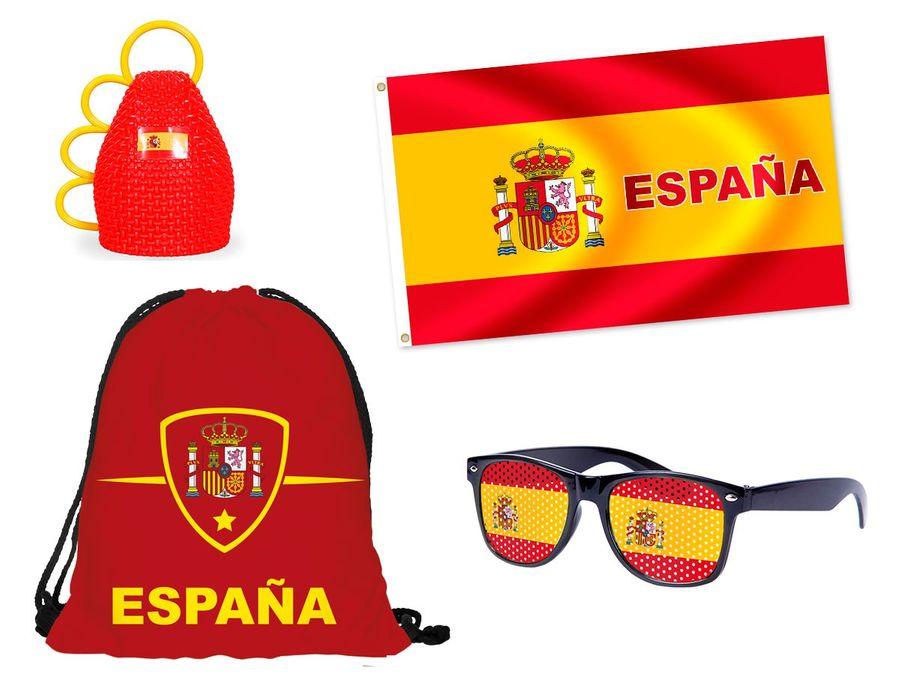 4 tlg. Alsino WM Fanpaket Spanien FP-23 Fanartikel Fussball Fanset Länder Flagge Caxirola