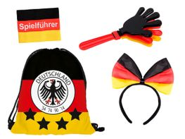 4 tlg Alsino Deutschland Fanset FP-29 Fussball Fanartikel Public Viewing Set Fussballparty