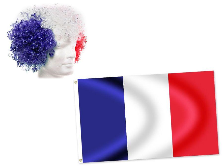2tlg Alsino Frankreich Fanset FP-33 Fussball Fanartikel Public Viewing Set Afro Flagge Fahne