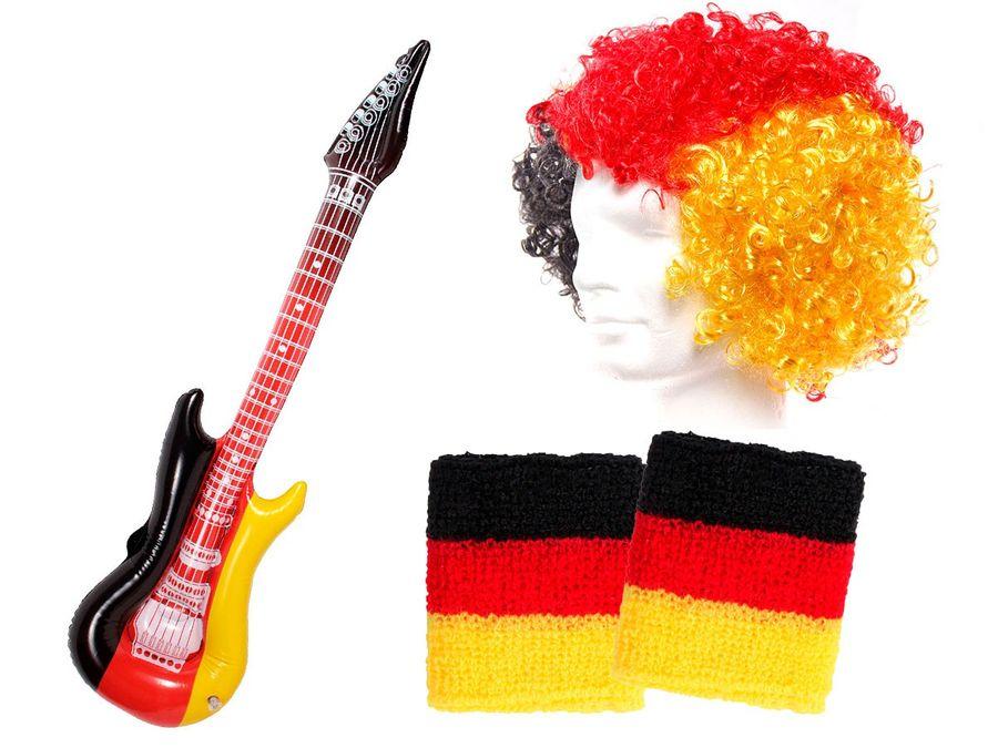 4 tlg Alsino Deutschland Fanset FP-41 Fussball Fanartikel Public Viewing Set Perücke Schweißbänder