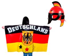 2 tlg Alsino Deutschland Fanset FP-42 Fussball Fanartikel Public Viewing Set Flaggenumhang Cape