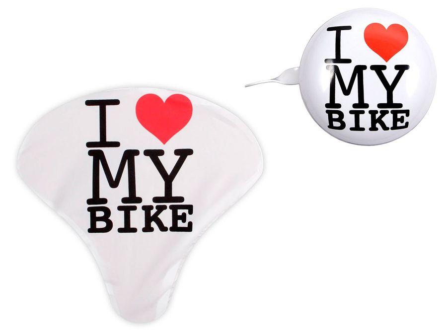 Fahrrad Klingel Sattelüberzug I love my Bike Fahrradset 2-teilig Fahrradklingel Sattelschutz Set 4