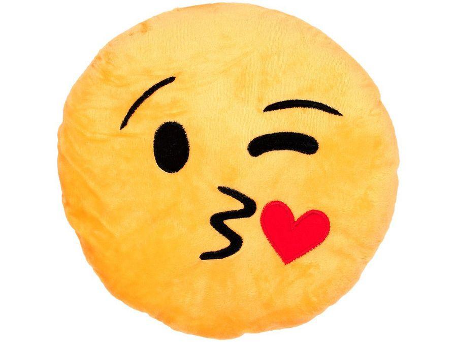 Emojicon Kissen Emoticon Zwinker Smiley Kuss Polster Dekokissen Ki-03 von Alsino