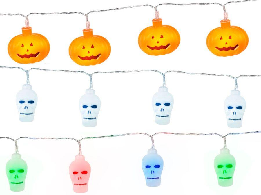 LED Happy Halloween Girlande Kürbis Totenkopf Wimpelkette Banner Deko Horror Dekoration von Alsino