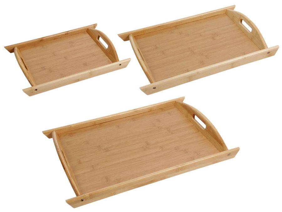 Holztablett Bambustablett Serviertablett Frühstückstablett Deko Tablett von Alsino