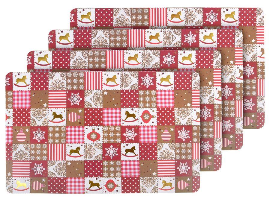 Tischset Weihnachten 4er Set Nikolaus Platzsets Platzdeckchen mit Weihnachtsmotiv 6 von Alsino