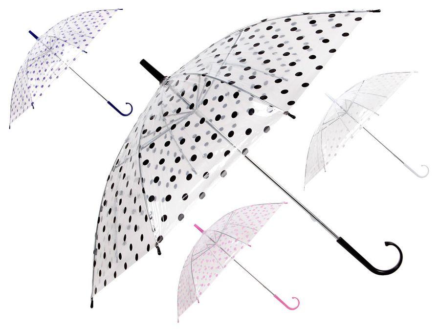 Stockschirm transparent Regenschirm Dots City Schirm gepunktet mit Griff von Alsino