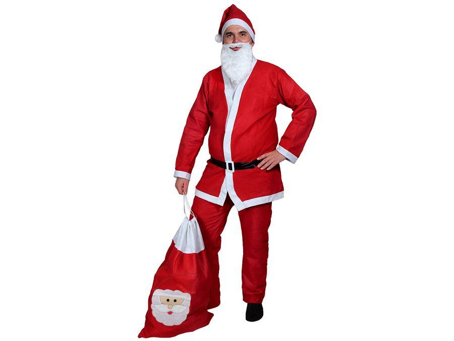 Weihnachtsmann Kostüm mit Bart und Geschenksack Modell: KV-73b