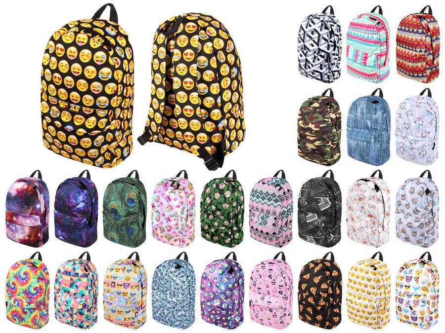 Rucksack Emojicon Smiley Print Look Kinder Schulrucksack Freizeit Tasche Schulranzen von Alsino