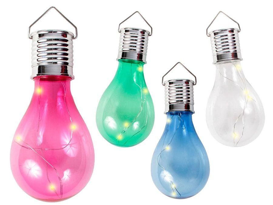 Party LED Solar Birne Glühlampe Lichtsensor farbige Lampe 4 LEDs warmweiß 8 x 15 cm von Alsino
