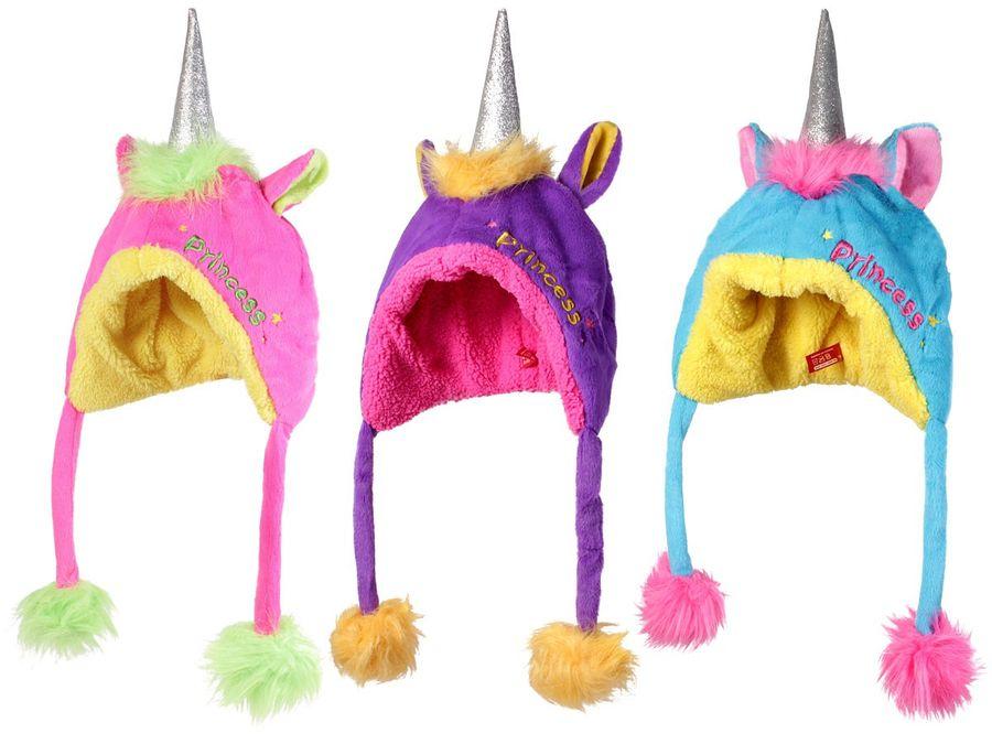 Einhorn Mütze mit Horn Plüsch mit Bommel Kinder Einhornmütze bunt Kindermütze von Alsino