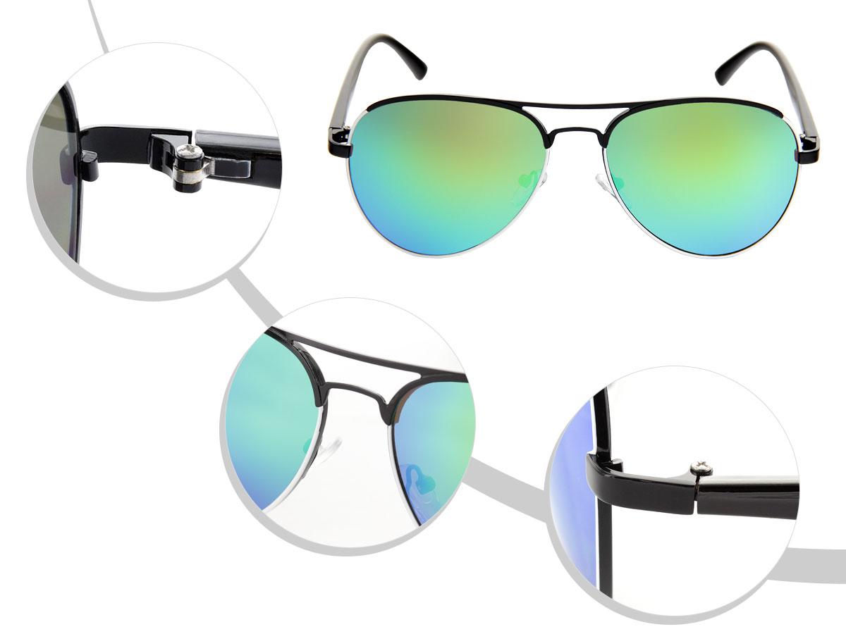 LOOX Pilotenbrille Sonnenbrille Vintage große Gläser Herren Damen Retro Fliegerbrille Modell Miami 110 von ALSINO, Variante wählen:LOOX-110 blau grün schwarz