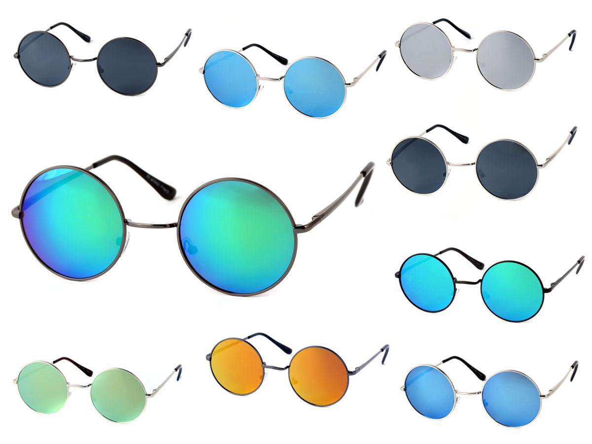 Sonnenbrille Rundbrille Nickelbrille Flexbügel Rund Hippie-Brille ...