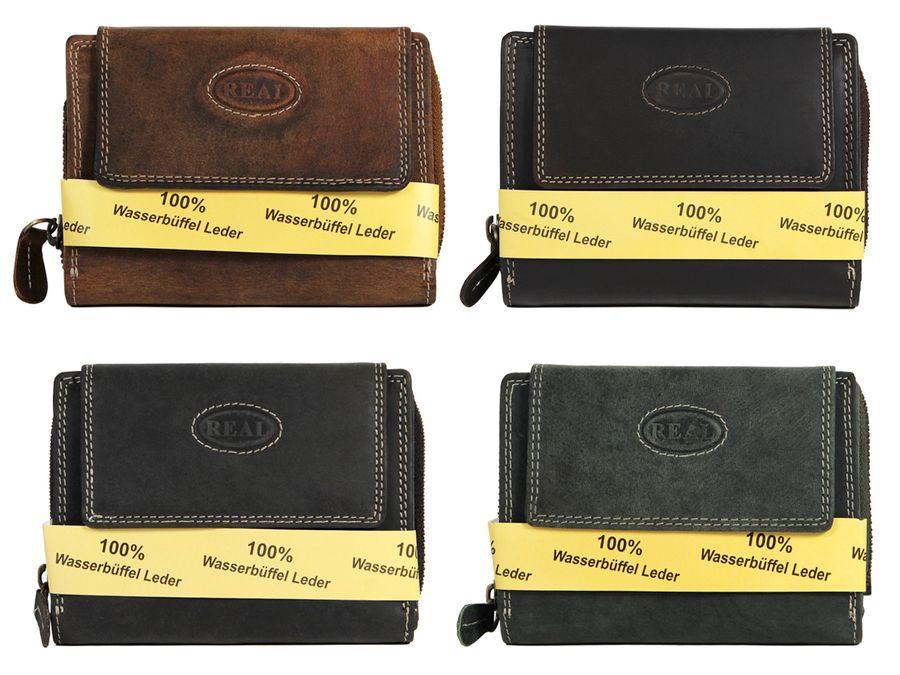Geldbörse Damen Wasserbüffelleder Echtleder Portemonnaie Leder Portmonee von ALSINO