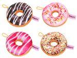 Coussin décoratif peluche doux oreiller en forme de beignet donut rond 40 cm