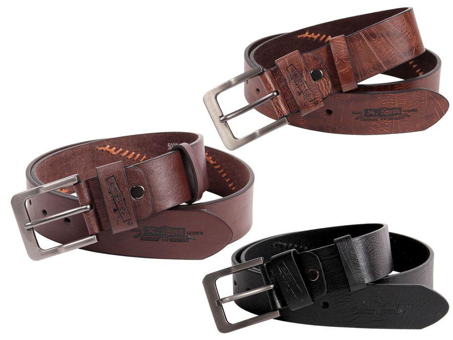 Herrengürtel Jeansgürtel Ledergürtel Jeans Herren 4 cm breit Metall Schnalle Hosengürtel von ALSINO
