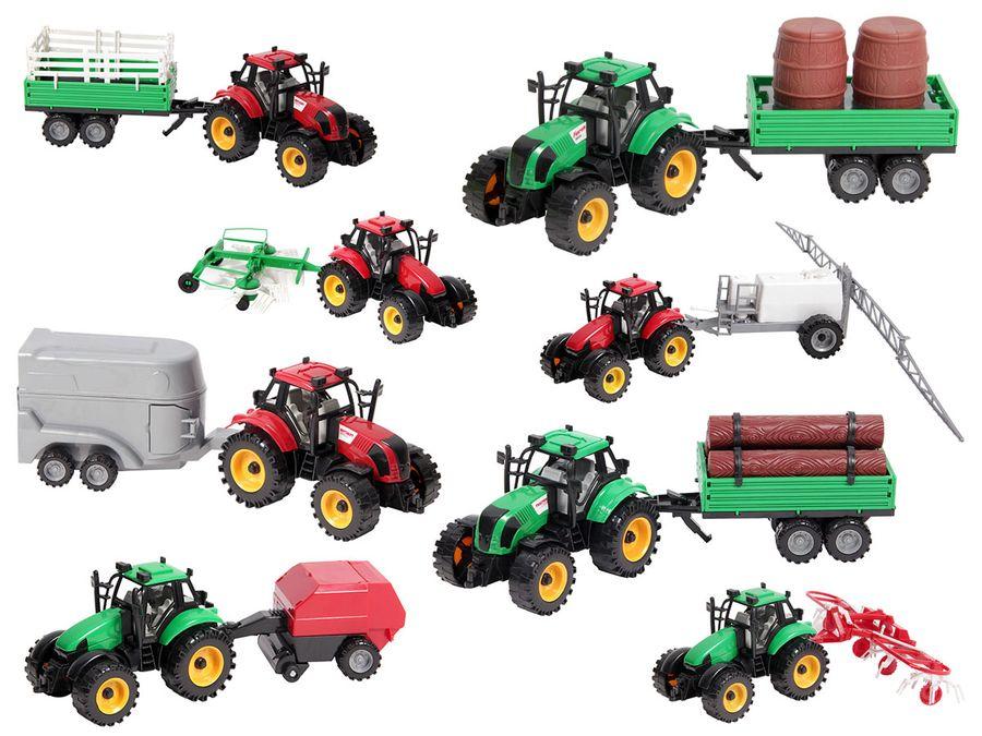 Traktor Spielzeug groß mit Anhänger 29 cm lang ALSINO