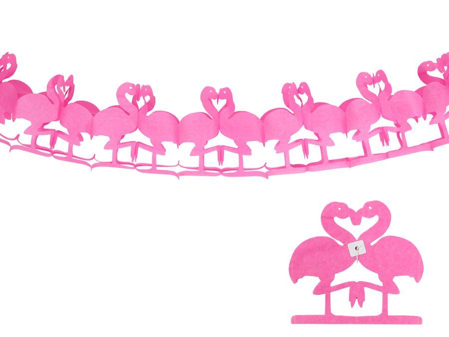 Flamingo Papier Girlande 2 Meter Party Deko Hawaiiparty 181200 Partygirlande Flamingogirlande von ALSINO