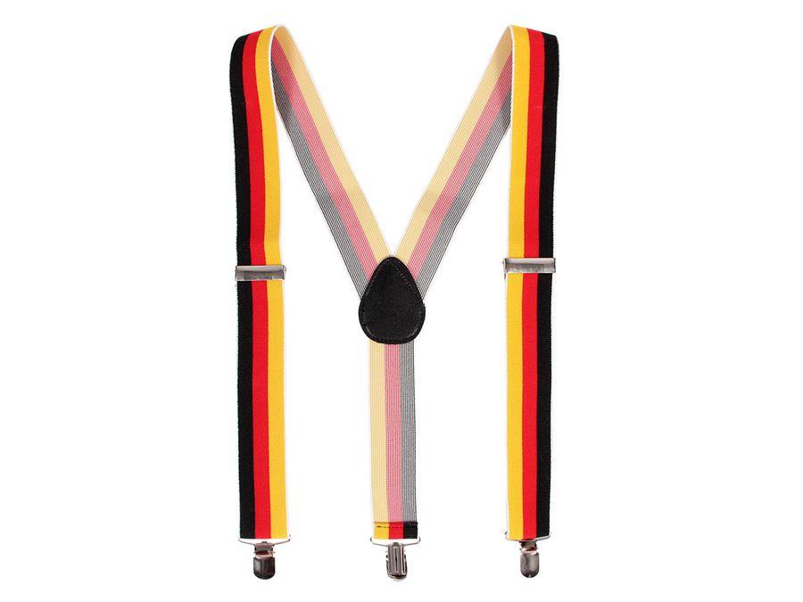 Hosenträger mit 3-Clips Herren Damen Schwarz rot gold elastisch Y-Form Träger Deutschland 00/0759 von ALSINO
