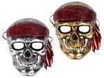 Totenkopf Maske silber gold mit Gummiband aus Plastik Skelett Piratenmaske von ALSINO