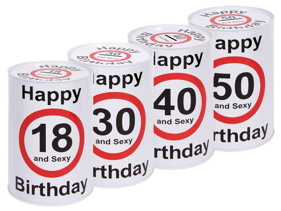 Happy Birthday Spardose Geburtstag Maße 15 x 10 cm aus Metall Sparbüchse Geschenkidee von ALSINO