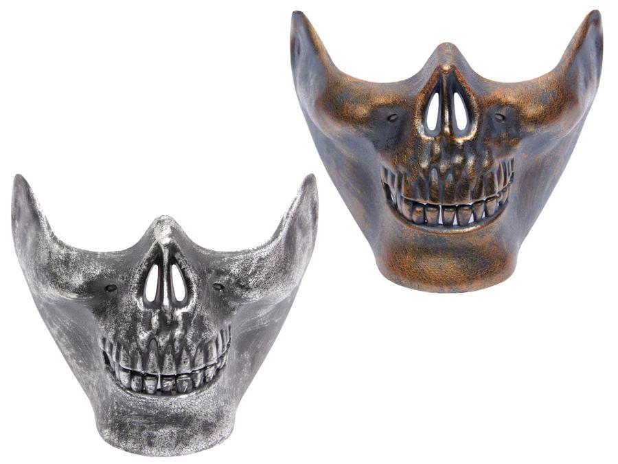 Halloween Maske Halbmaske Kunststoff-Maske Freaky Totenkopfmaske Spooky Horrormaske Gruselmaske von ALSINO