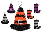 Decoration Halloween Hanging Wall Ceiling 33 cm Tinsel Hat Boot Whitch for Theme Partys Carnival from Alsino