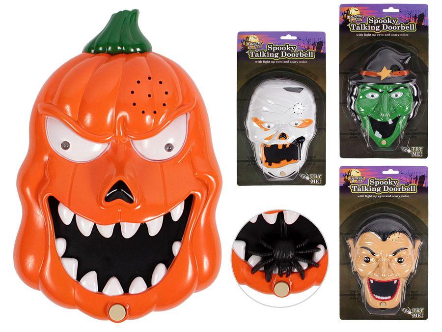 Halloween Klingel Kürbis Türklingel Sound mit Gruseleffekt Vampir Zombie Hexe mit leuchtenden Augen von ALSINO P976047