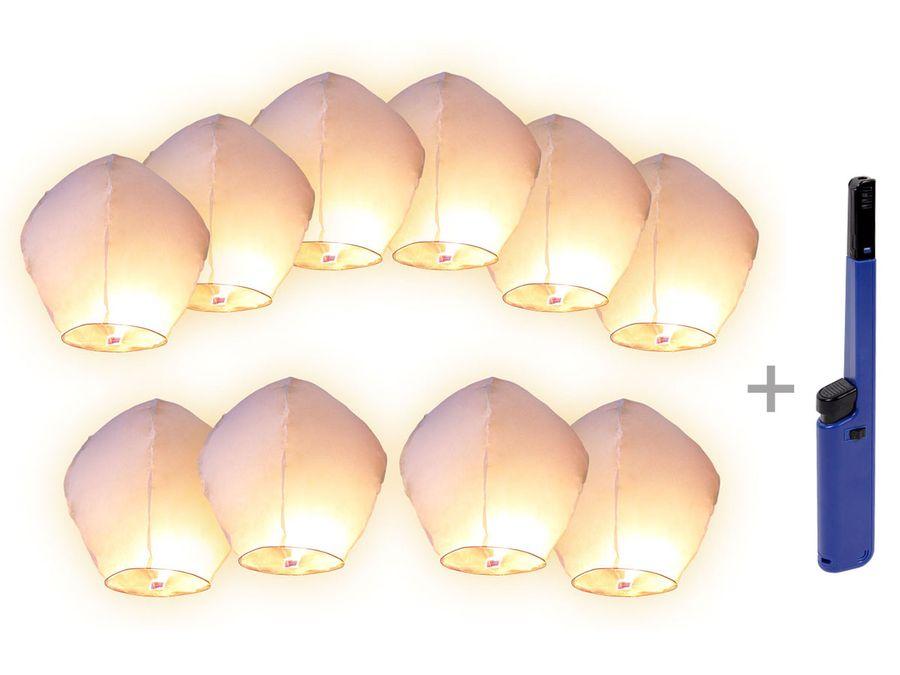 Himmelslaternen Set weiß mit Feuerzeug Skylaternen Himmelsballon Laternen von ALSINO