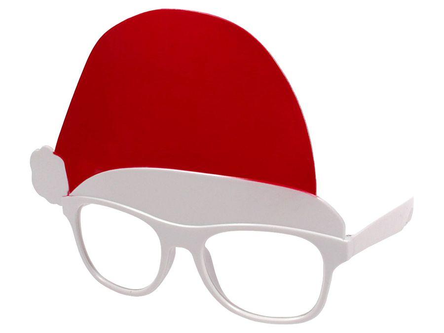 Lustige Weihnachtsbrille Partybrille Nikolaus Brille 16 cm x 14 cm Weihnachtsoutfit Weihnachtsmütze von ALSINO 960132