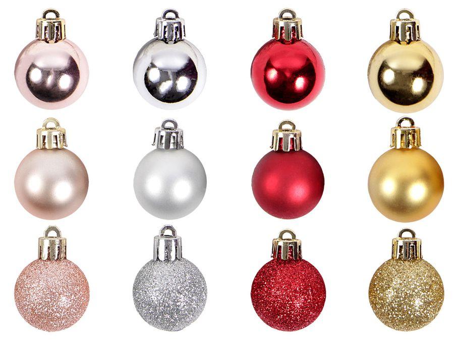 Weihnachtsbaumschmuck Christbaumschmuck Weihnachten Schmuck Christbaumkugeln rund Kugeln 24 Stück 3 cm matt glänzend glitzer von ALSINO – Bild 1